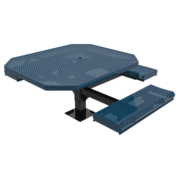 "Elite Series 46"" X 63"" ADA Compliant Octagon Thermoplastic Polyethylene Coated Pedestal Rolled 2 Or 3 Seat Picnic Table Perforated Steel - Blue - Surface Mount"