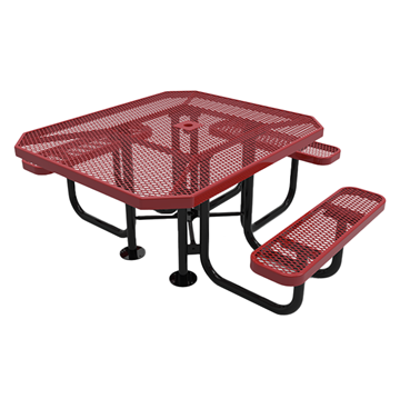 "Elite Series ADA Compliant 46"" X 54"" Octagon Thermoplastic Polyethylene Coated Picnic Table Expanded Metal - Red - Portable"