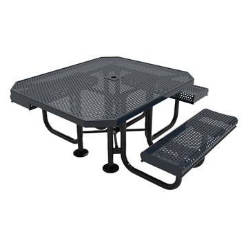 "Elite Series ADA Compliant 46"" X 54"" Octagon Thermoplastic Polyethylene Coated Rolled Picnic Table Expanded Metal - Black - Portable"