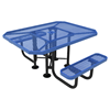"""Elite Series ADA Compliant Dual Access 46"""" X 63"""" Octagon Thermoplastic Polyethylene Coated Picnic Table Expanded Metal - Light Blue - Portable"""