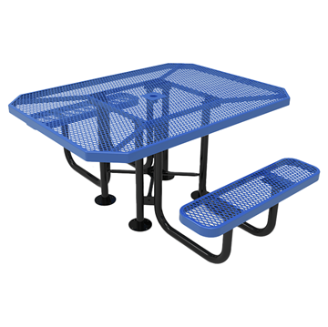 "Elite Series ADA Compliant Dual Access 46"" X 63"" Octagon Thermoplastic Polyethylene Coated Picnic Table Expanded Metal - Light Blue - Portable"