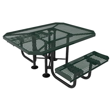 "Elite Series ADA Compliant Dual Access 46"" X 63"" Octagon Thermoplastic Polyethylene Coated Rolled Picnic Table Expanded Metal - Green - Portable"