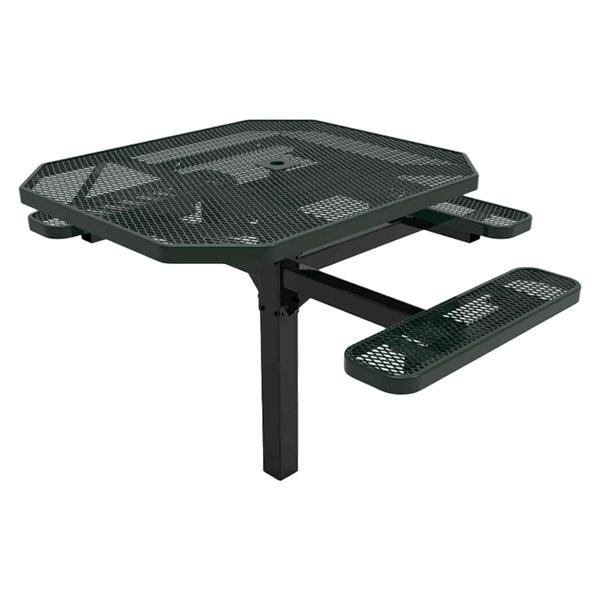 """RHINO 46"""" x 54"""" Octagon ADA Complaint Thermoplastic Polyolefin Coated Green Pedastal Picnic Table - Expanded Metal - Inground Mount"""