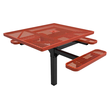 "RHINO 46"" x 54"" Square ADA Complaint Thermoplastic Polyolefin Coated Pedestal Red Picnic Table - Expanded Metal - Inground Mount"
