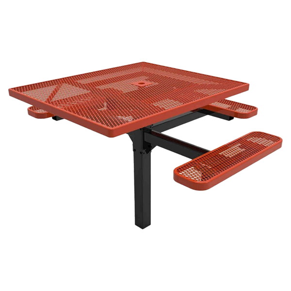 """RHINO 46"""" x 54"""" Square ADA Complaint Thermoplastic Polyolefin Coated Pedestal Red Picnic Table - Expanded Metal - Inground Mount"""
