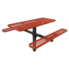 RHINO 6 Ft. Thermoplastic Coated Pedestal Red Picnic Table- Expanded Metal- Inground Mount