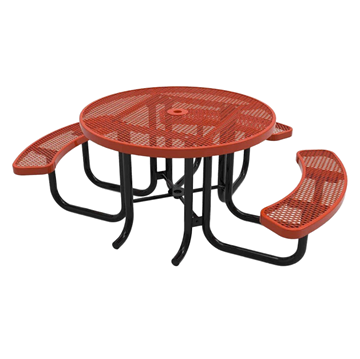 "RHINO Wheelchair Accessible 46"" Round Thermoplastic Polyolefin Coated Picnic Table"