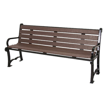 Cascades Recycled Plastic Bench with Back and Aluminum Frame