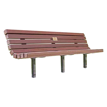 Recycled Plastic Contoured Park Bench With Steel Frame And Inground Mount