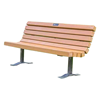 Recycled Plastic Contoured Park Bench With Steel Frame With Surface Mount
