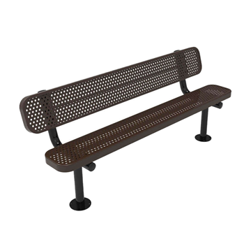 RHINO 8 ft. Thermoplastic Polyolefin Coated Pedestal Bench with Back