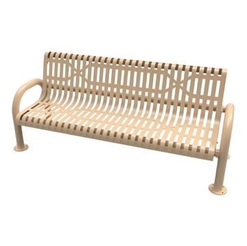 RHINO Slatted Steel MOD Bench with Back