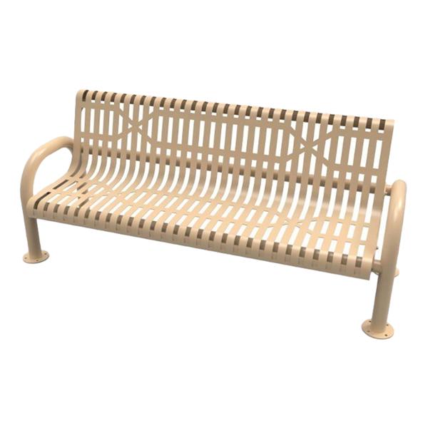 RHINO Slatted Steel MOD Bench with Back