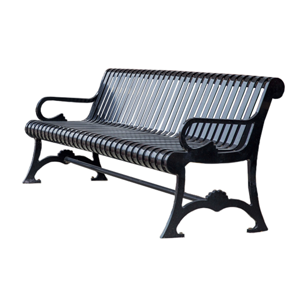 Streetscape Style Contoured Bench - Powder Coated Strap Steel - 4 or 6 ft.
