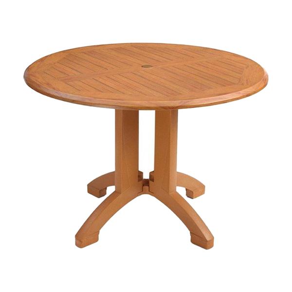 """42"""" Round Atlanta Teakwood Decor Plastic Resin Table"""