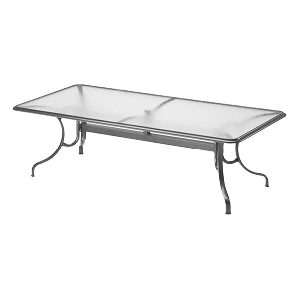 "Telescope 42"" x 68"" Rectangular Glass Table with Aluminum Frame"