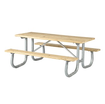 8 Ft. Heavy Duty Wooden Picnic Table With Welded Galvanized Steel Frame