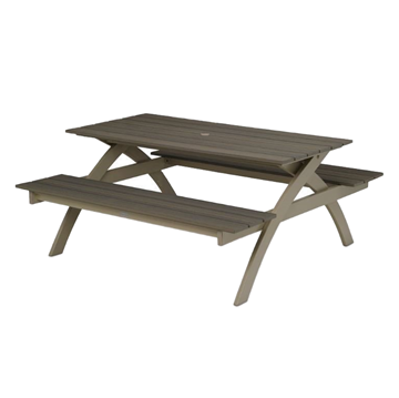 Plymouth Bay MGP Picnic Table with Powder-Coated Aluminum Frame - 120 lbs.