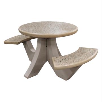 "38"" Round 2-Seat Concrete Picnic Table - 760 Lbs."