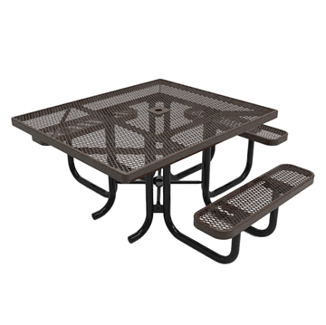 "Elite Series ADA Compliant 46"" Square Thermoplastic Polyethylene Coated Picnic Table Expanded Metal - Brown"