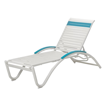 Helios Contract Vinyl Strap Chaise Lounge Aluminum Frame Powder-Coated - 29 lbs.