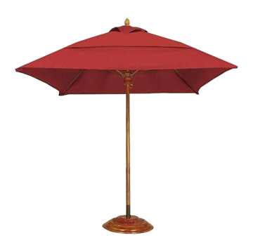 Commercial Umbrellas Six Foot Square Diameter Bridgewater Style Market Umbrella. One Piece Simulated Wood Pole. Marine Grade Fabric.