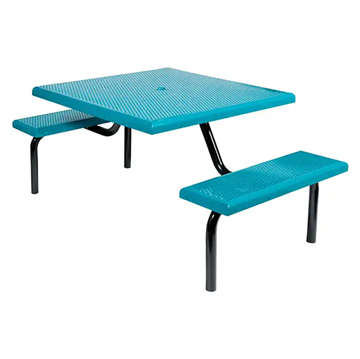 "42"" Commercial Square Thermoplastic Picnic Table With Two Benches Steel Frame"