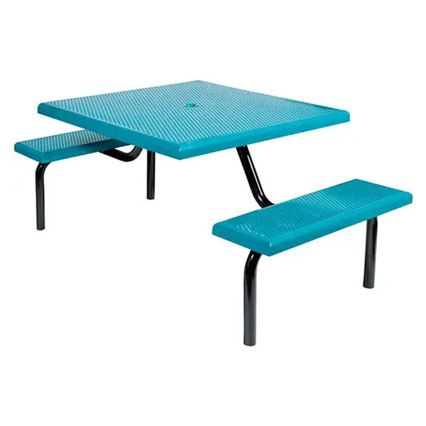 """42"""" Commercial Square Thermoplastic Picnic Table With Two Benches Steel Frame"""
