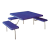 """42"""" Commercial Square Thermoplastic Picnic Table With Three Benches Steel Frame"""