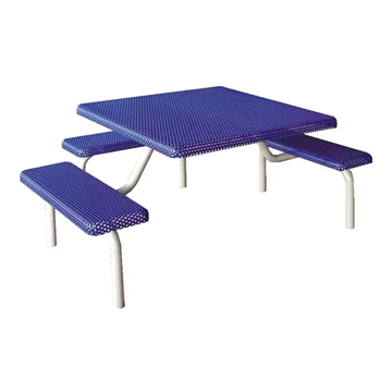 "42"" Commercial Square Thermoplastic Picnic Table With Three Benches Steel Frame"