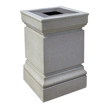 24 Gallon Decorative Commercial Concrete Square Trash Receptacle