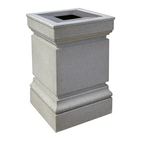 24 Gallon Decorative Commercial Concrete Square Trash Receptacle