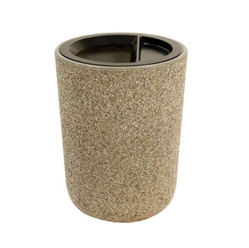 31 Gallon Commercial Concrete Round Trash Receptacle With Ash N' Trash Top