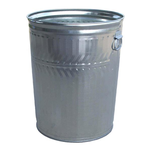 32 Gallon 23 Gauge Galvanized Steel Trash Can W/ Flat Top Lid