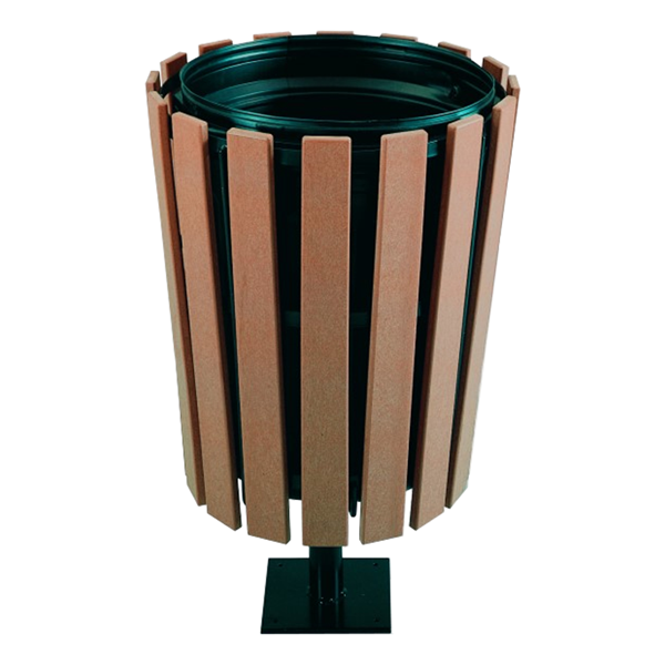 32 Gallon Recycled Plastic Tapered Receptacle With Steel Frame