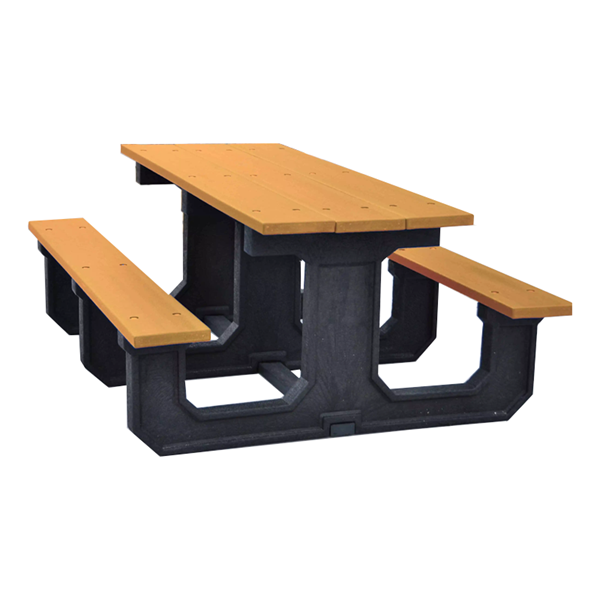 """8 Ft. Recycled Plastic """"Walk Thru"""" Style Pincic Table"""