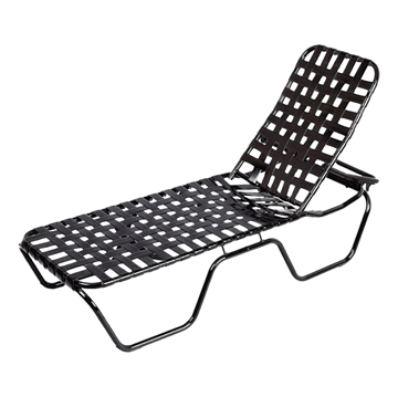 Daytona Cross Weave Vinyl Strap Chaise Lounge with Stackable Commercial Aluminum Frame