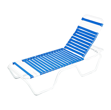 Daytona Vinyl Strap Chaise Lounge with Stackable Commercial Aluminum Frame