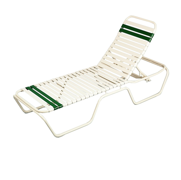 Delray Full-Base Vinyl Strap Chaise Lounge Commercial Aluminum Stackable