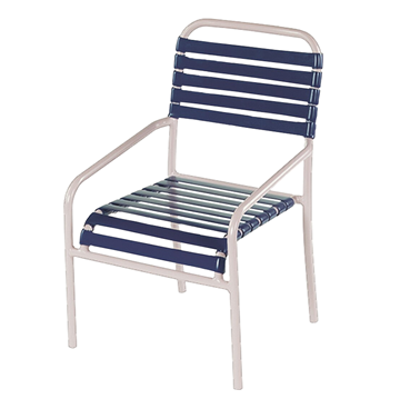 St. Lucia Vinyl Strap Dining Chair - Commercial Aluminum Frame