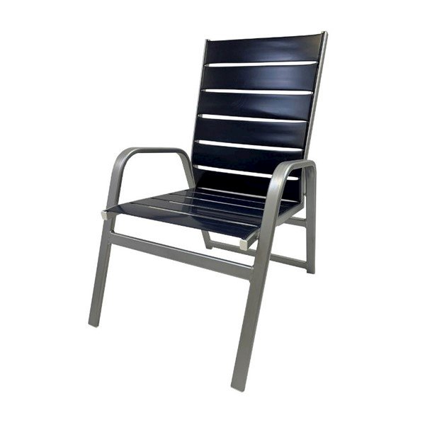 Destin Vinyl Strap Commercial Armchair with Stackable Heavy-Duty Aluminum Frame - 9 lbs.