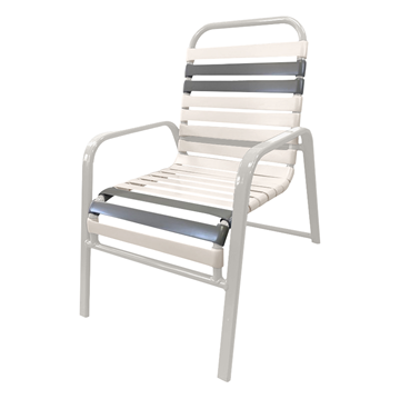 Destin Vinyl Strap Wide Arm Commercial Chair Powder-Coated Aluminum Stackable