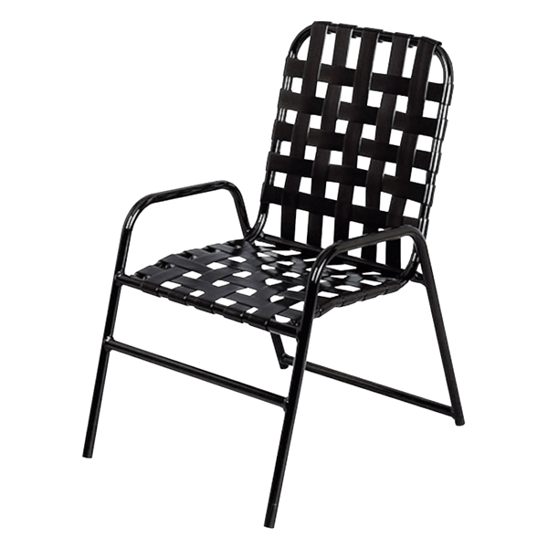Daytona Cross Weave Vinyl Strap Chair with Stackable Commercial Aluminum Frame