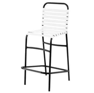 Sanibel Vinyl Strap Barstool with Powder-Coated Aluminum Frame - 17 lbs.