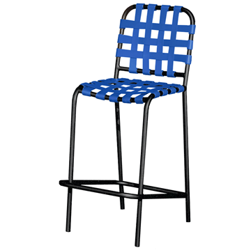 Sanibel Basketweave Vinyl Strap Barstool with Powder-Coated Aluminum Frame - 17 lbs.