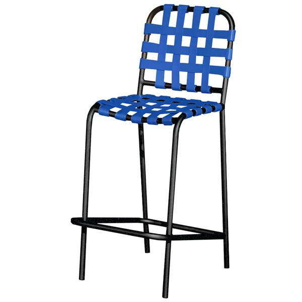 Sanibel Basketweave Vinyl Strap Barstool with Powder-Coated Aluminum Frame - 17 lbs.
