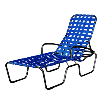 Sanibel Basketweave Full-Body Vinyl Strap Chaise Lounge with Powder-Coated Aluminum Frame- 24 lbs.