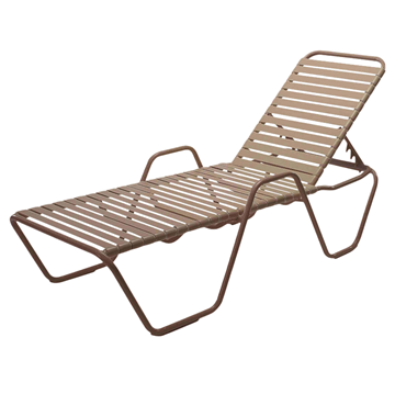 St. Maarten Vinyl Strap Chaise Lounge with Arms - Commercial Aluminum Frame