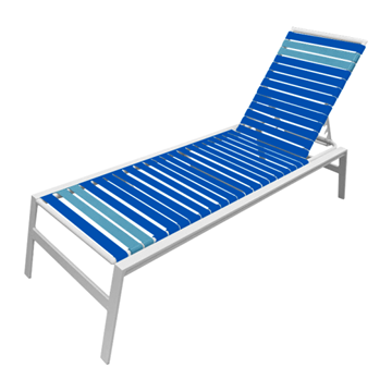 Waterside Vinyl Strap Chaise Lounge - Commercial Aluminum Frame