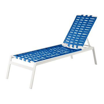 Waterside Cross Weave Vinyl Strap Chaise Lounge with Heavy-Duty Aluminum Frame